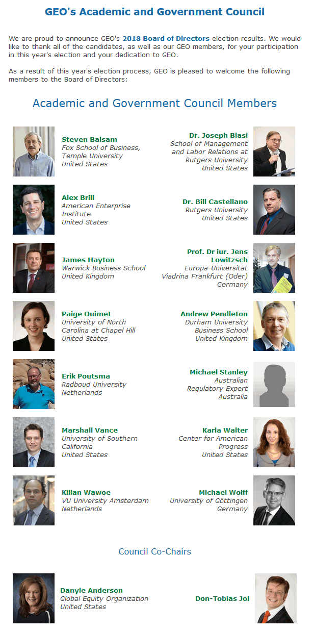 GEO's Academic and Government Council Members