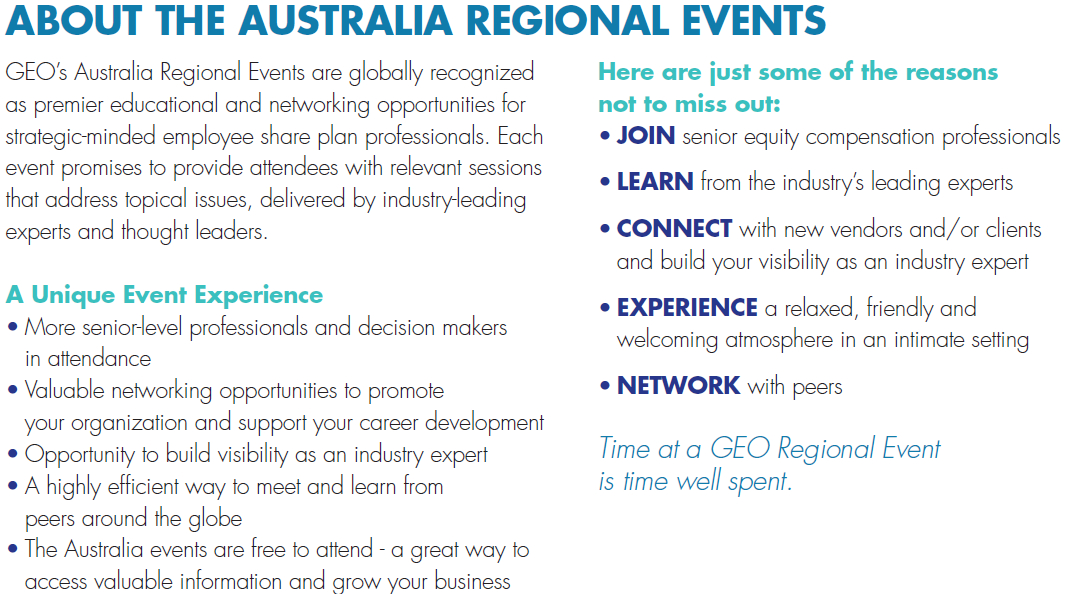 About the Australia Regional Events